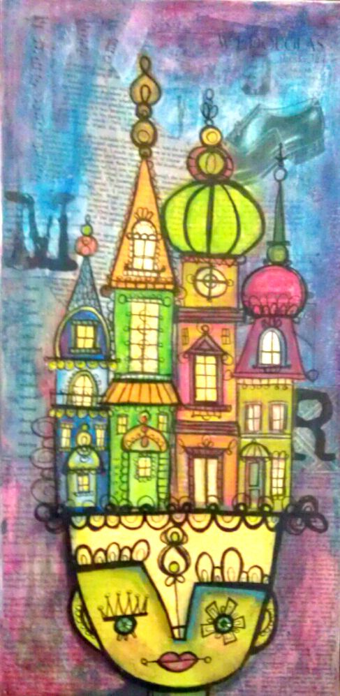 10 x 20 inch Motley Soul mixed media painting for sale by Mika Diaz (article on Soul Food by Heather Santos)