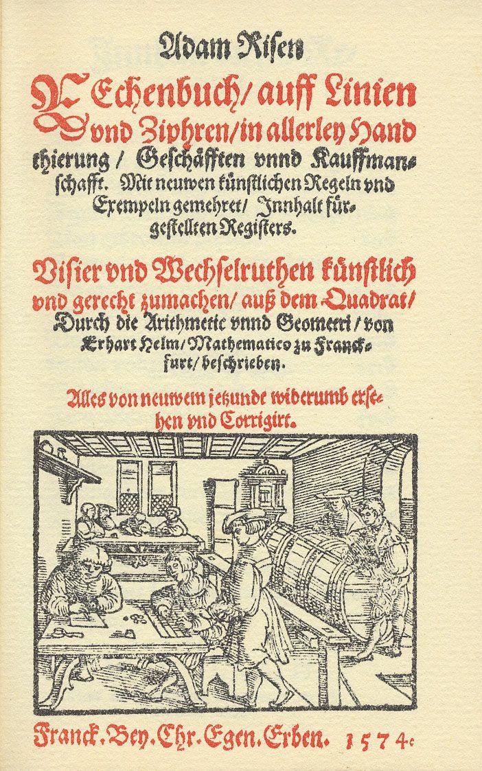 Adam Riesen Rechenbuch (Titelseite, 2. Ausgabe 1522)