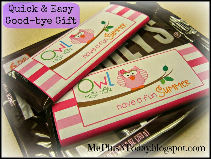 Quick, Easy, & Inexpensive good-bye gift for teachers (daycare) or students!  Includes link to FREE printable! Owl miss you, have a fun summer! MePlus3Today.blogspot.com