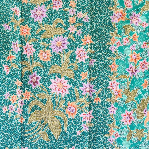 green and pink print vintage flowers cotton traditional by 18dec, $20.00