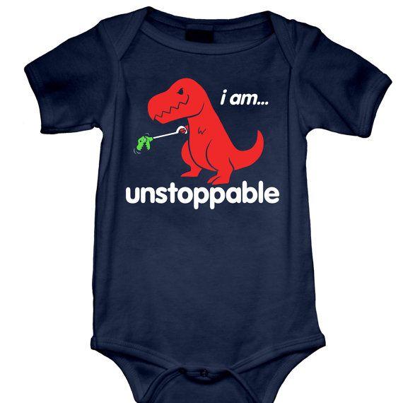 Unstoppable Onesie (GT3300-800NVY) babies, onesies, funny onesies, funny baby onesies, baby tees, dino, dinsosaur onesie, dinosaurs