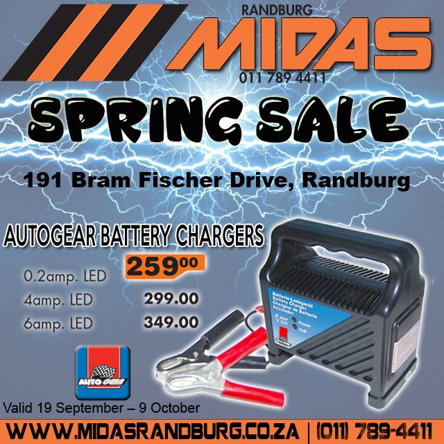 Autogear #Battery charger from only R259 at @RandburgMidas #SPRINGSPECIAL valid until 9 Oct 2016 VIEW OUR WEBSITE FOR MORE INFO. LINK IN BIO. #Randburg