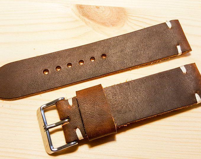 Correa de reloj hecha a mano de cuero marrón 22mm. DE ENVÍO GRATIS.