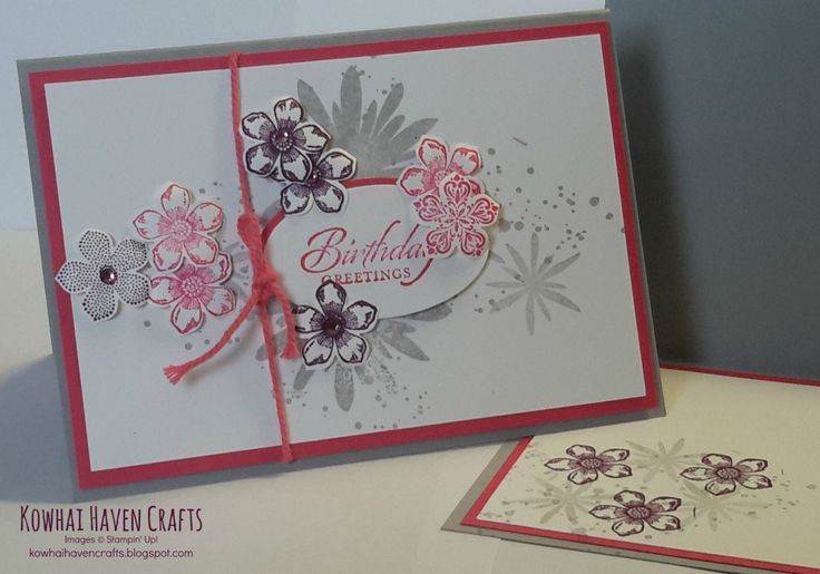 Cards of the month by Kowhai Haven Crafts using Stampin' Up! products. The Petite Petals Card show cases the Petite Petals punch and stamp set and the Flower Patch stamp set.