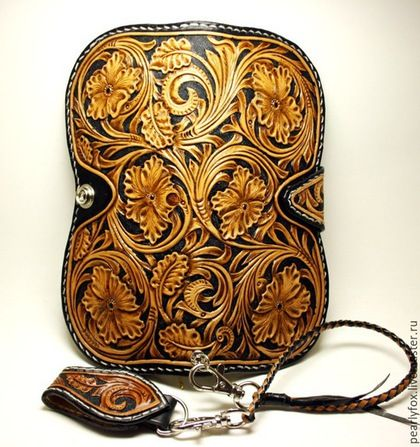 Купить Мужской кожаный кошелек в ковбойском стиле Шеридан - коричневый, кожаный кошелек, ковбойский кошелек