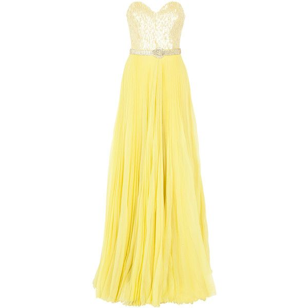 ANDREW GN Strapless Belted Gown found on Polyvore: Strapless Gown
