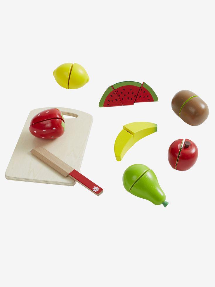 Set fruits en bois multicolore - Jeu d'assemblage de 15 pièces : 6 fruits à couper en 2 et à recomposer à l'infini ! Parfait pour jouer à la dinette ou aux petits marchands !   www.vertbaudet.fr
