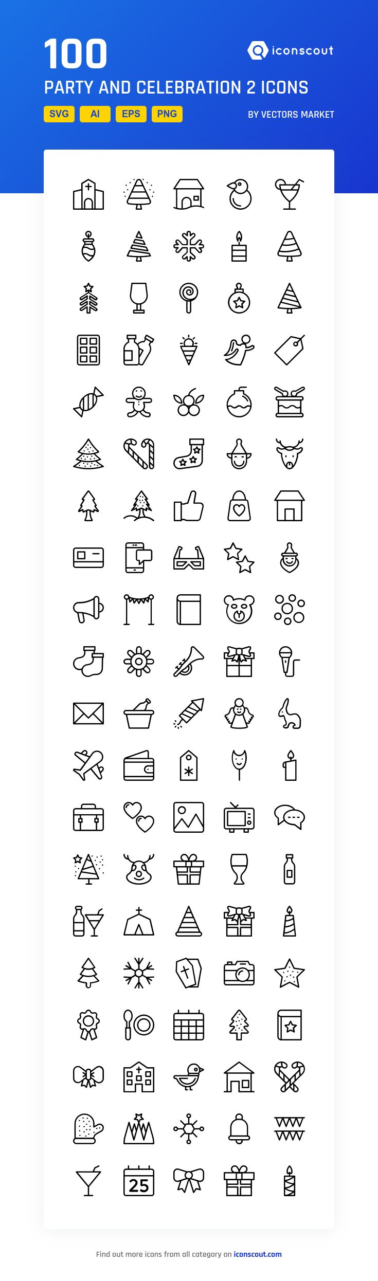 Party And Celebration 2  Icon Pack - 100 Line Icons