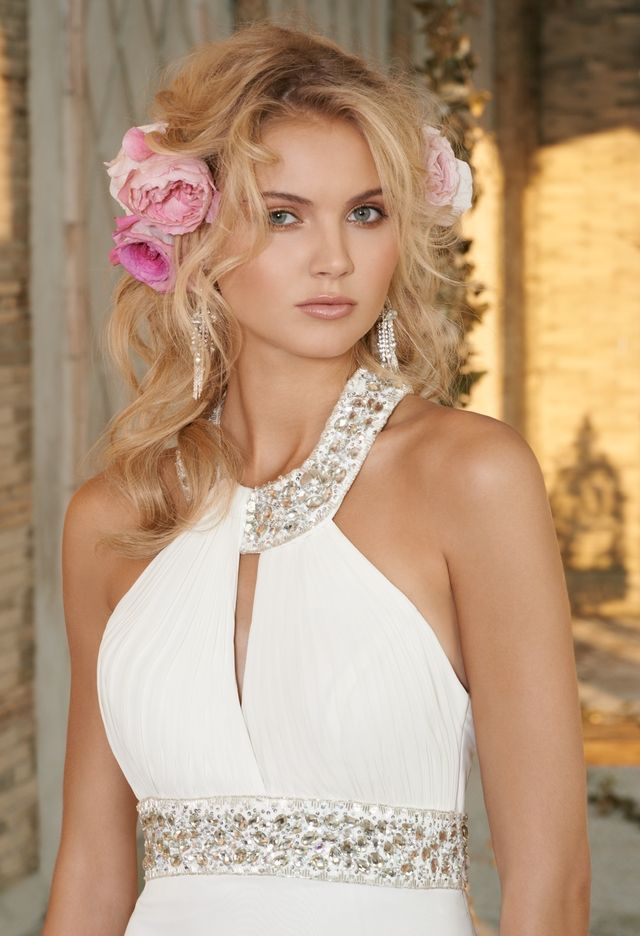 Wedding Dresses - Chiffon Wedding Dress with Jeweled Collar from Camille La Vie and Group USA/love it