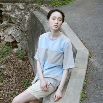 [Pastel Block #Tee] A boxy fit cotton #top featuring #neoprene pastel colored blocks. Round neckline. Short sleeves. #korean #fashion #asianfashion #koreanclothes #koreanclothing #onlinestore #fashiontoany