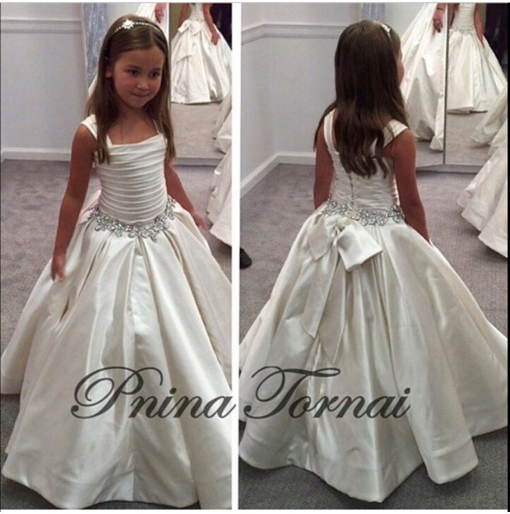 2017 Gorgeous Ivory Little Flower Dresses With Lace Up Back Pnina Tornai Beaded Birthday S Pageant Gowns
