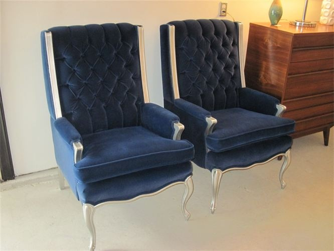 Vintage Royal Blue Velvet Tufted Wingback Chairs Given The