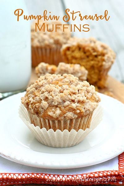 Pumpkin Streusel Muffins   Simple pumpkin muffins with a brown sugar and cinnamon streusel topping.