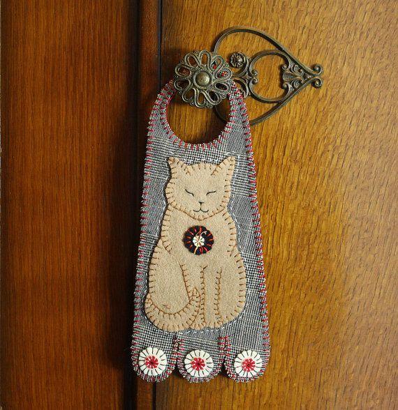 Applique Cat  Felted Wool  Penny Door Hanger by AshtonPublications, $15.99