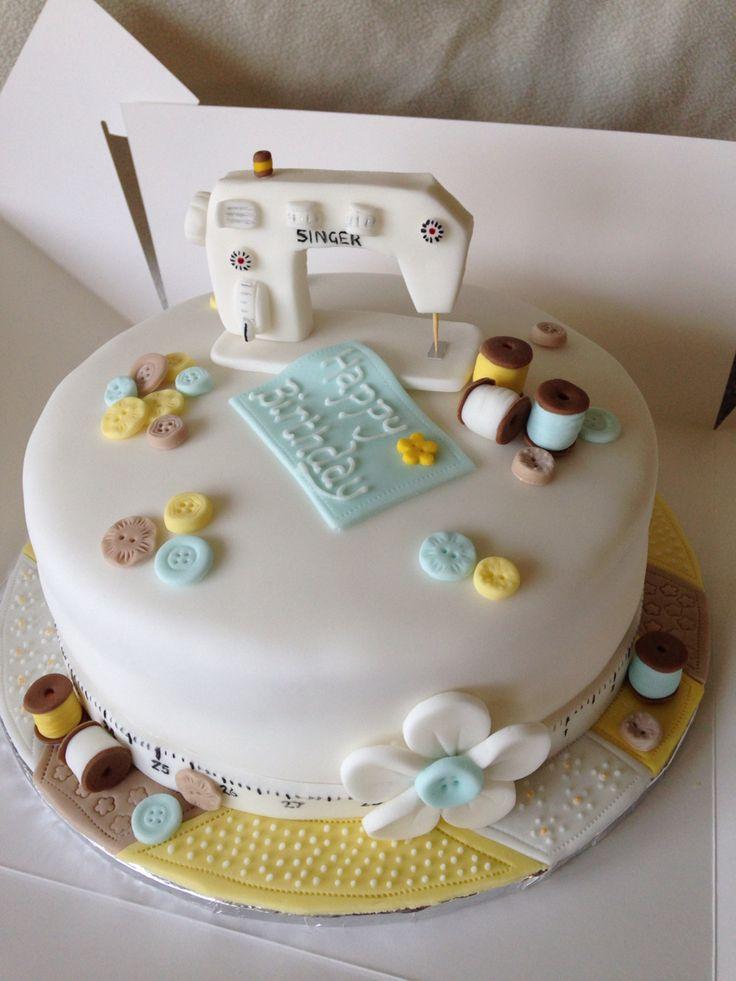 Sewing machine cake topper, birthday cake.