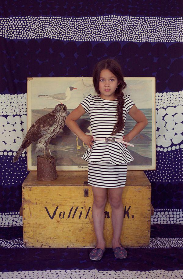 Jade wearing a dress by H and a belt by Supertrash. Beautiful backdrop fabric by Marimekko. Little Punks are BACK! - RAWR Magazine