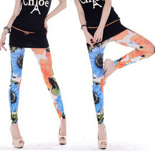 2015 New Arrival Women Knitted Cotton Floral Leggings Mid Waist Ankle length 3d Digital Printed Fitness