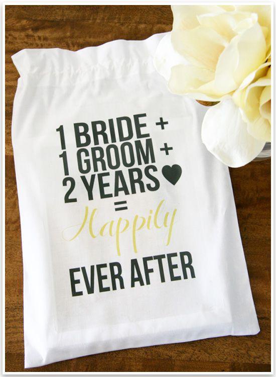 Diy nd wedding anniversary cotton gift bag