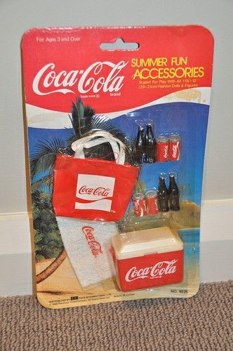 1986 Barbie Coca Cola - Summer Fun Accessories Cooler Soda Bottle and Can Tote 1:6 Size