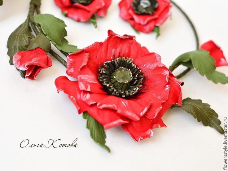 Купить Цветы из кожи Красные маки Комплект украшений колье браслет серьги - красный