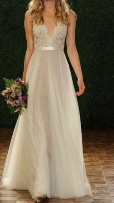 4. Sheer Gowns: Don't be scared off by the sounds of this trend. These sheer gowns are an extension of your skin, and the natural flow is just breathtaking. Reem Acra (one of my all time favorite wedding gown designers), Carolina Herrera, and Watters all showcased some amazing sheer gowns.  http://www.bisouweddingsandevents.com/apps/blog
