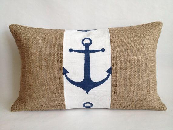 Anchor Fabric and Burlap Pillow Lumbar Cover by BouteilleChic, $22.00
