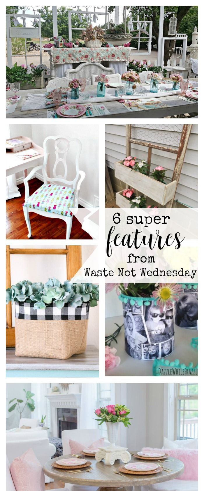 Features from our fun Waste Not Wednesday-50 DIY, Craft, Home Decor and Recipe party this week! Be sure to join us and share your DIY, Craft, Home Decor and favourite recipes!   www.raggedy-bits.com   www.mythriftyhouse.com   www.gratefullyvintage.com   www.salvagesisterandmister.com   www.reinventedkb.com