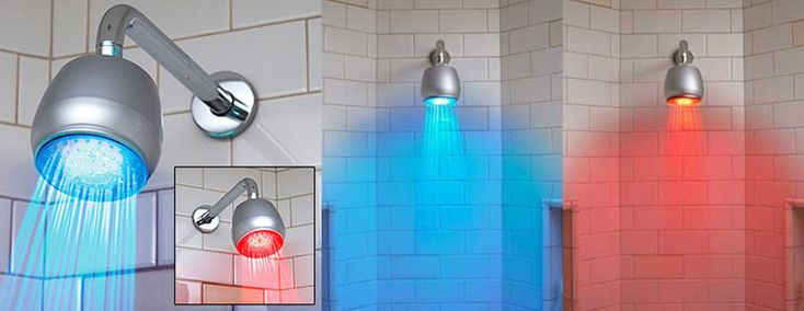 A cool new temperature-sensitive showerhead light that makes the water glow bright blue if the water is cool or bright red if the water is hot automatically using super bright built-in LEDs.