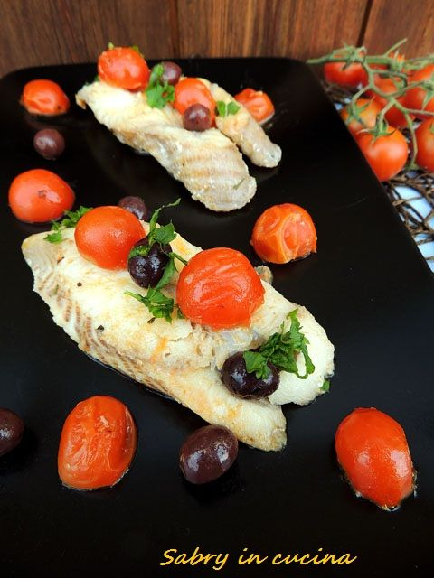 Palombo con pomodorini ed olive