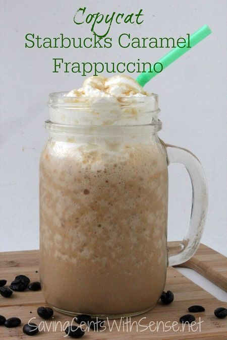 Make your own Copycat Starbucks Caramel Frappuccino and save money! #coffee #recipes