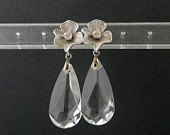 #EstyloContest SALE 10% Clear Swarovski Drop Briolette Crystal Earrings on Flower Sterling Silver Post CZ Bridesmaids Gift Handmade by Estylo Jewelry