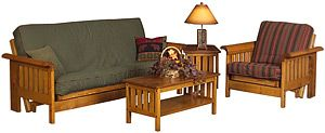 Constructed of solid pine, these reclining futon sets offer unmatched rustic appeal. Features include screwed and glued construction, beefy spreaders and choice of inserts. View the insert options above to choose a look ranging from contemporary to rustic cabin. The futon is easily front-operated to recline in an infinte number of positions, including a bed which can be locked in the sleep position. The loveseat and chair options also fully recline. Pictured above are the futon and chair in…