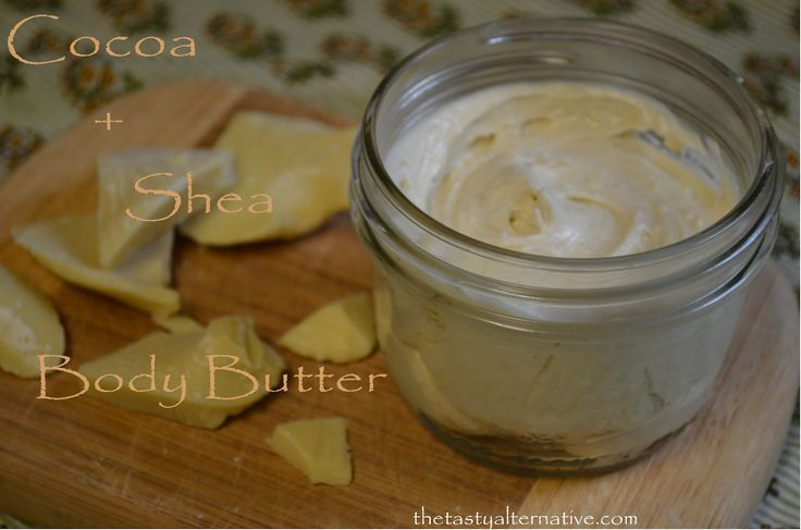 ~ Cocoa and Shea Body Butter for Dry Skin and Eczema ~    Ingredients   -2.5 ounces Raw organic cocoa butter   -3.5 ounces Raw organic unrefined shea butter   -3 tablespoons organic jojoba oil (I find this at my Coop in bulk.  Any healing liquid oil will work).  -1/2 teaspoon vanilla (just good ole' vanilla extract)  -1/2 teaspoon vegetable glycerine . . .