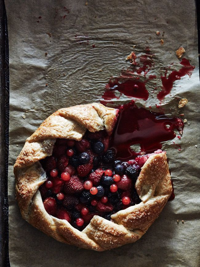 mixed berries galette with a rye crust