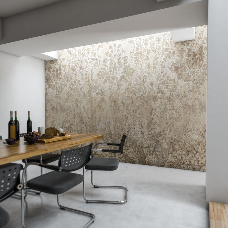 The refined elegance of french lace on a modern Wallpaper. #diningroom #styish #macramé #wallcoverings #cartadaparati
