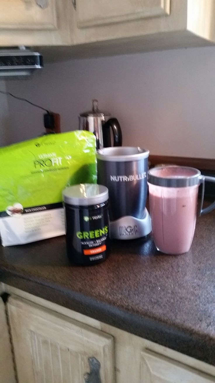 My breakfast routine!! Greens and profit are a great way to start my day!