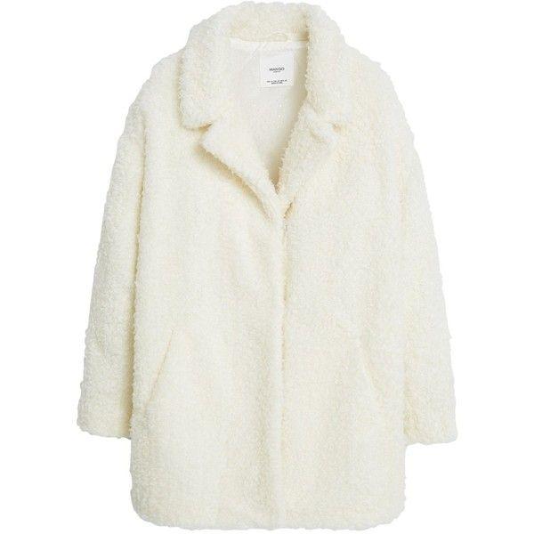 Mango Lapels Coat, Light Beige found on Polyvore featuring outerwear, coats, jackets, wrap coat, lapel coat, long sleeve coat, short coat and boucle coat