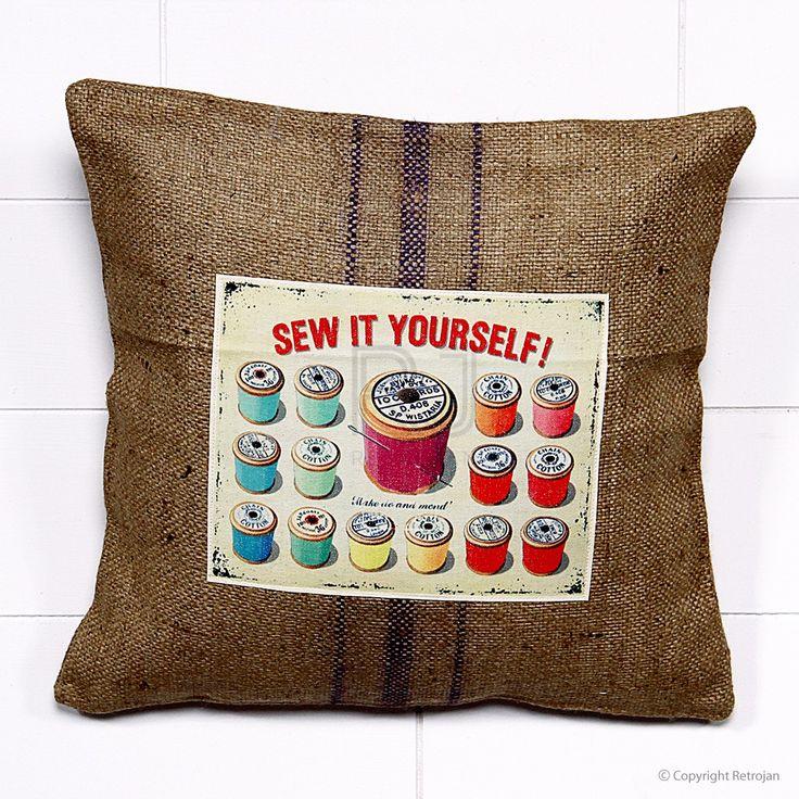 Jute Vintage Advertisement Cushion - Sew It Yourself | $34.99