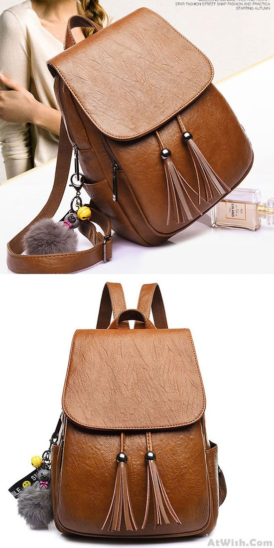 Leisure Tassel Simple Brown PU School Bag Simple British Style College  Backpack only  33.99  fb263ad03d908