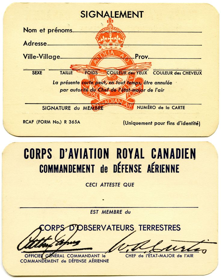 RCAF Ground Observer Corps Membership Card (French)