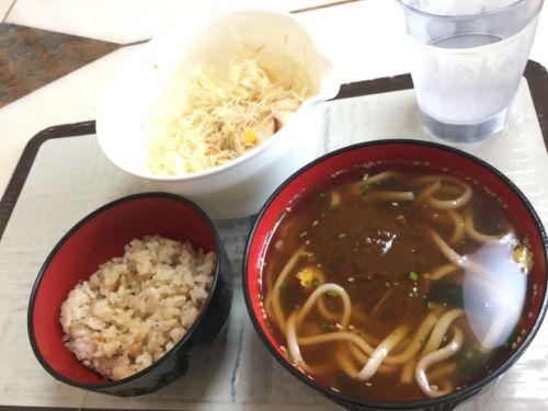 チキサラ(ジンジャードレッシング)、かやくご飯、カレーうどん(流水麺)。 流水麺、けっこういいね!半額だから買ってみたけど!