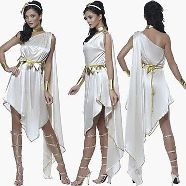 Graceful Greek Goddess White Satin Women's Hallowoon Costume – CAD $ 40.49