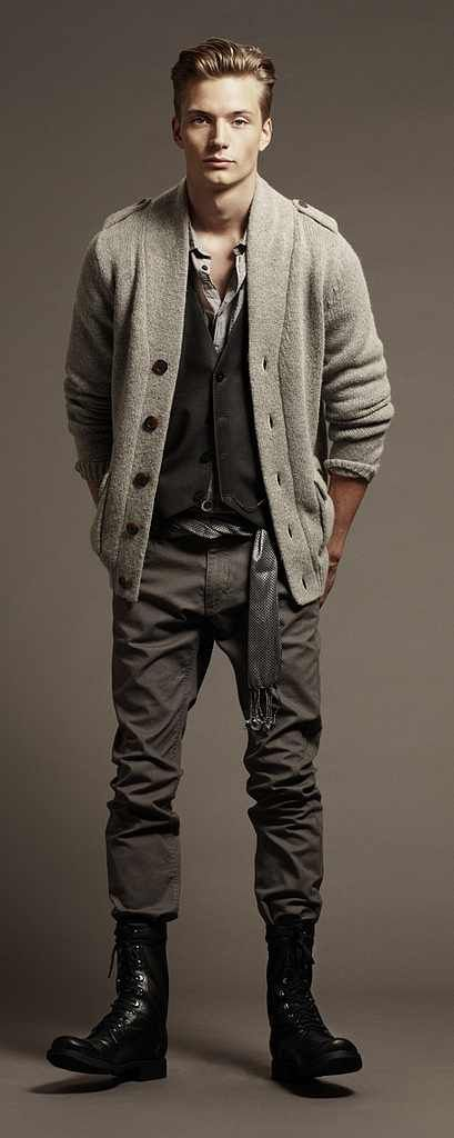 Gabriel Gronvik Linus Gustin For H M Shades Of Grey Style Guide Grey Pants And Boots