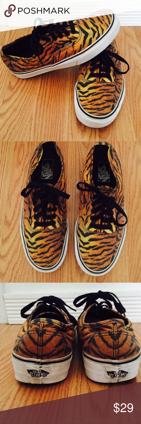 Tiger strip print cans in good used condition Tiger stripe print vans in good condition.  I love leopard print lol so ofcourse the tiger stripes were one of my faves 😂.  Same color scheme just a cooler print. Vans Shoes Sneakers