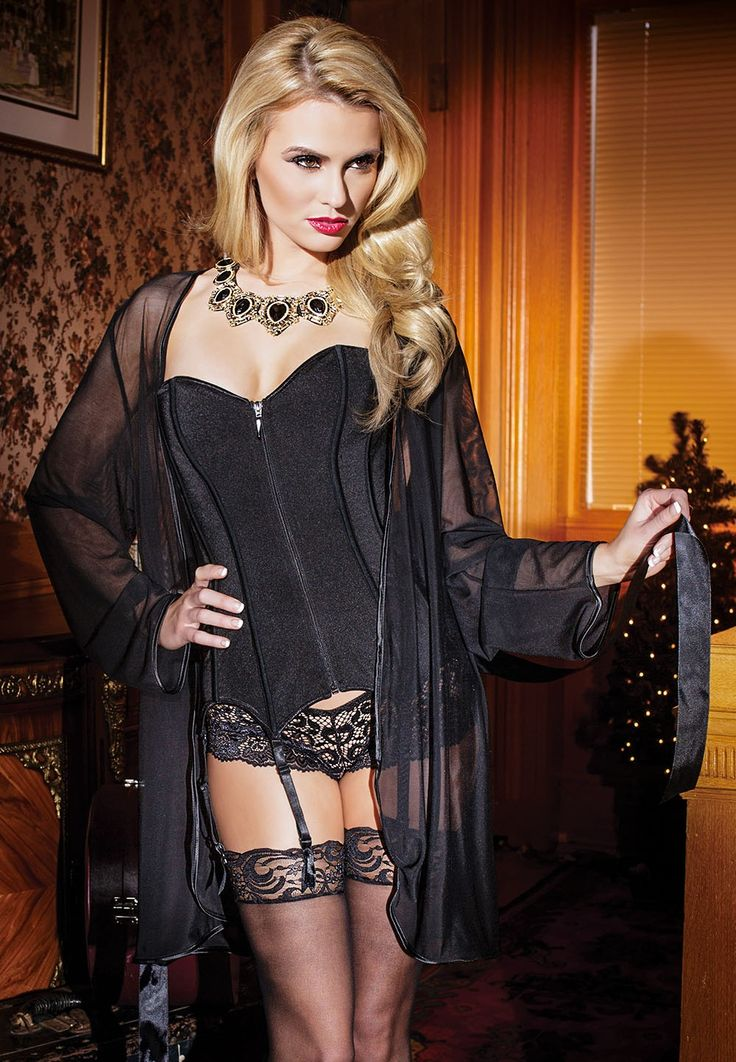 Full Sleeves Satin Black Mesh Robe