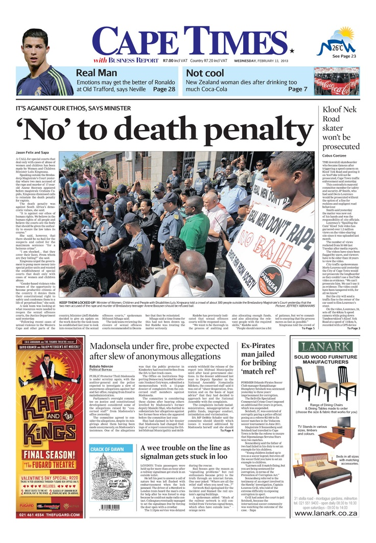 News making headlines: 'No' to death penalty