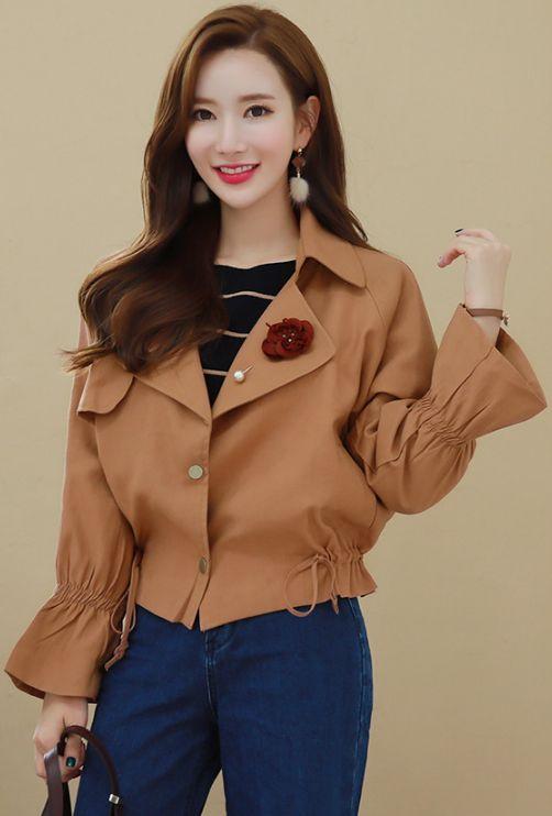 StyleOnme_Bell Sleeve Waist Drawstring Jacket #falltrend #jacket #koreanfashion #kstyle #kfashion #autumnlook #falltrend