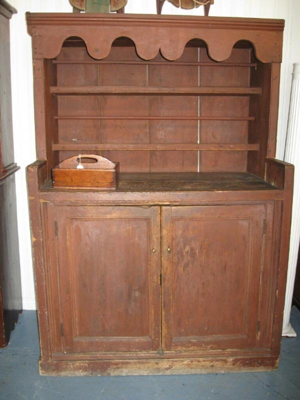 Original Paint Open Dish Dresser Cupboard Antiques