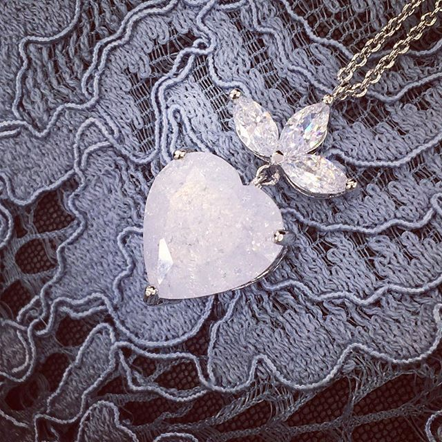 Heart necklace in crushed white opal  from @ceciliemellijewelry