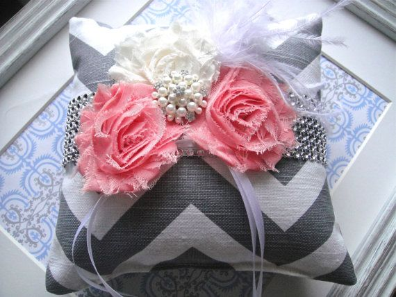 Shabby Chic Ring Pillow In Salmon Weddings Ring by ModishBride, $45.00